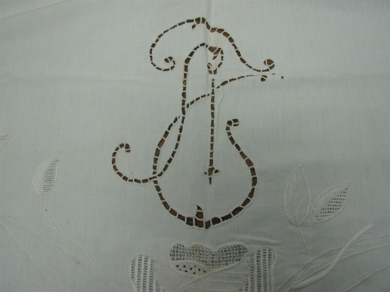 ANTIQUE WHITE PURE LINEN FLAT PILLOW COVER w CUTWORK, MONOGRAM SCALLOP EDGE
