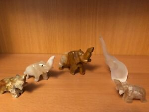 Assortment of small sized glass elephants