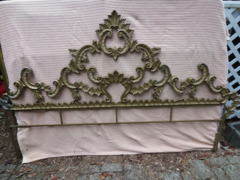 Vintage Hollywood Regency French Rococo Style Cast Metal King Size Headboard