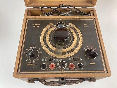 Vintage Electrical Test Equipment Ac Bridge Analyzer Model Br-44 Wood Powers On