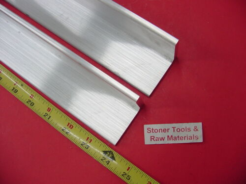 """2 Pieces 2""""x 2""""x 1/4"""" ALUMINUM 6061 ANGLE BAR 24"""" long T6 Extruded Mill Stock"""