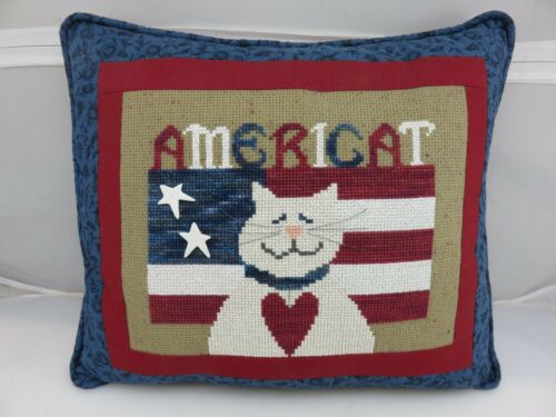AMERICAT Cat Hand Embroidered Pillow HANDMADE Completed