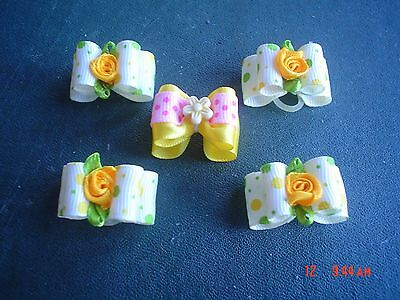 Pretty Yellow And Pink Show Style Dog Grooming Bows Mixed Flower Centre