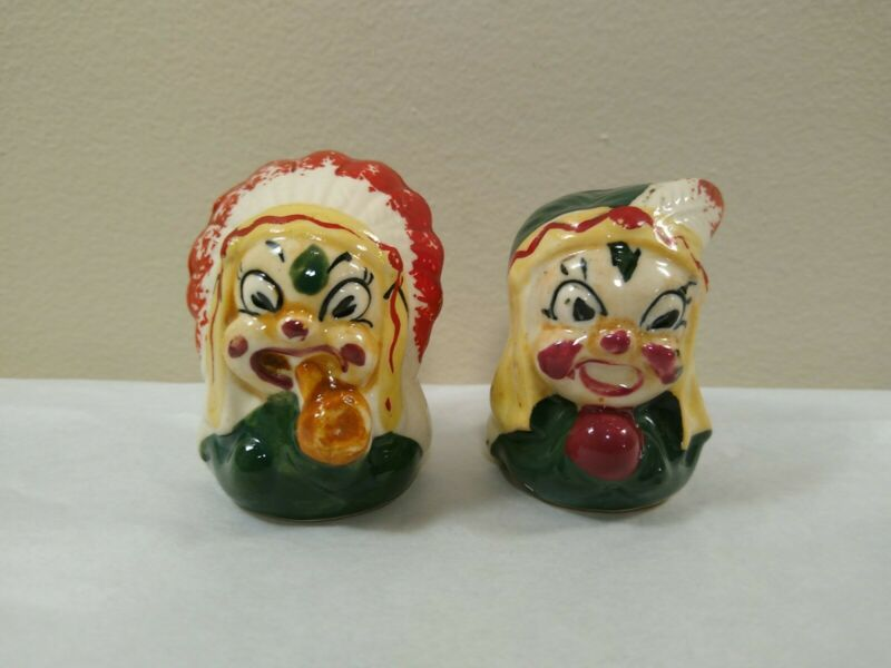 VTG Anthropomorphic Bug Chief & Squaw Salt & Pepper Shakers Made In Japan