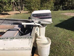 Johnson 8 hp boat motor and fuel tank