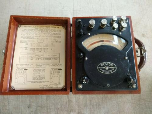 Vintage Weston AC DC Watt Meter Model 310 In Wooden Case Made in the USA