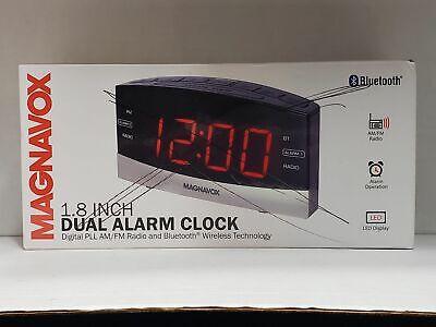 Magnavox Dual Alarm Digital AM/FM Black Clock Radio w/ Bluetooth Wireless Black