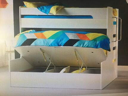 Double single gas lift bunk bed - Venus forty winks white