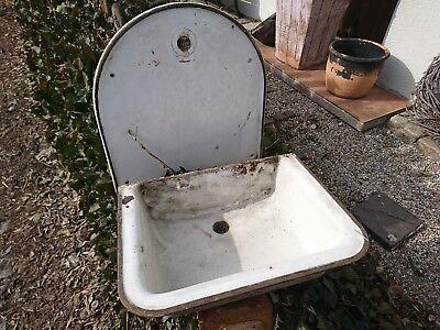 Waschbecken Gusseisen mit separater Rückwand altes Email Waschbecken
