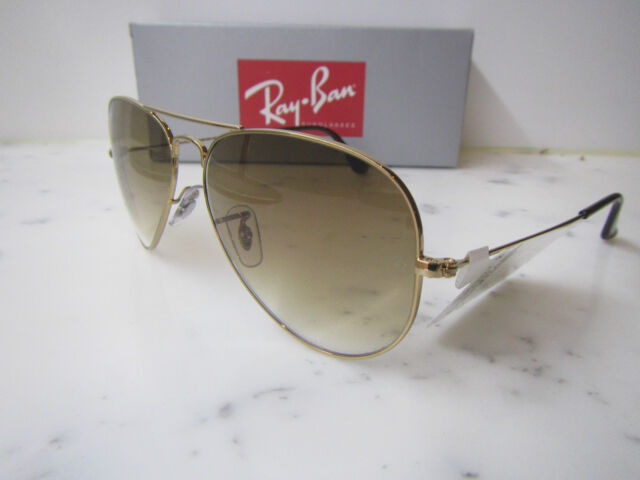 RAYBAN AVIATOR RB3025 001/51 Medium Size 58mm Gold Sunglasses Mens Womens