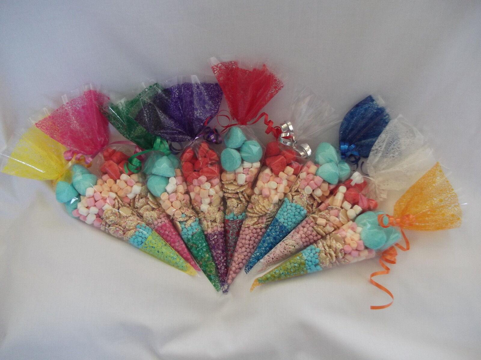 Cone Cello  Empty Party Gift Sweet Treat Favor Bags 37 x 18cm & 8cm Twist Ties