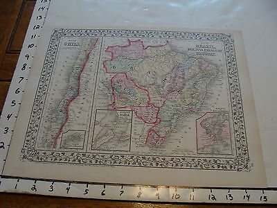 vintage map: 1874 Mitchell Map of BRAZIL, BOLIVIA, PARAGUAY, URUGUAY, CHILE