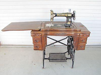 1914 Antique White Sewing Machine 6 Drawer Oak Wood Treadle Cabinet