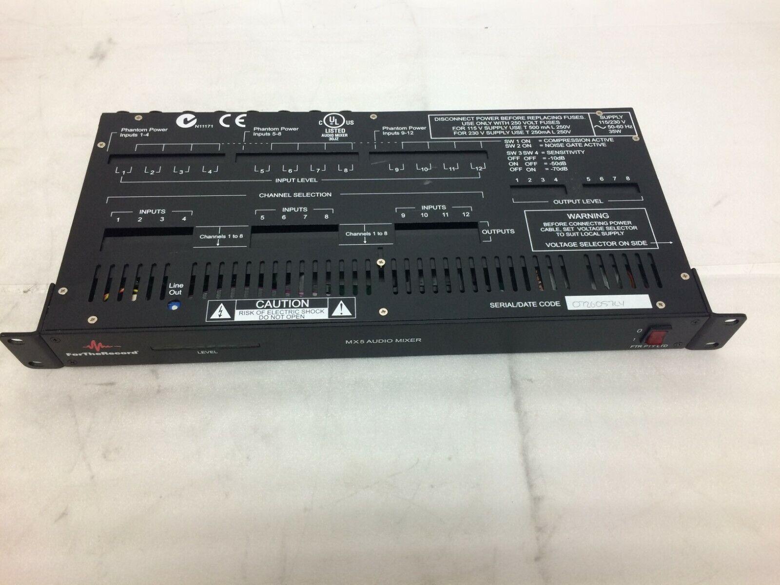 For the Record MX5 Audio Mixer 115/230V 50-60 Hz 35W