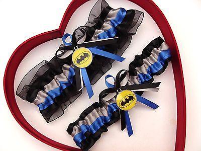 New Batman Wedding Garter Silver Blue Yellow Black Prom Superhero Garter  (Superhero Wedding)