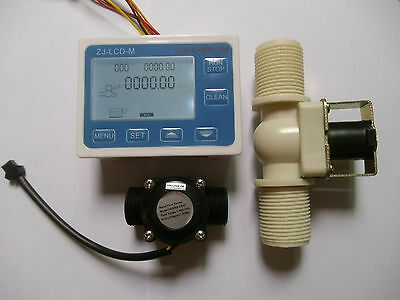 New G34 Water Flow Control Lcd Displayflow Sensor Metersolenoid Valve Gauge