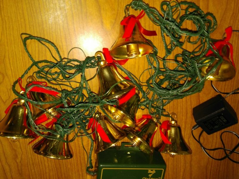 MR CHRISTMAS 10 Brass Bells Of Christmas Lighted Musical PLAYS 15 SONGS
