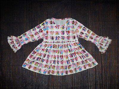Children's Boutique Dresses (NEW Boutique Valentine's Day Disney Heart Long Sleeve Girls Ruffle)