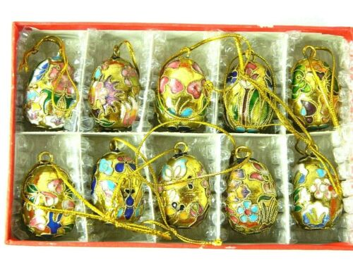 10 Small Golden Floral Cloisonne Enamel Eggs,Home Christmas Hanging Ornament