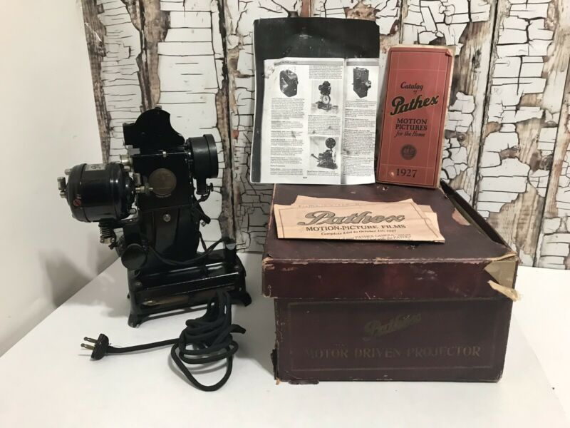 Pathex 1920's Vintage Projector With Original Box And Catalog Tested Works!