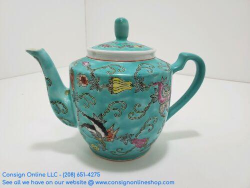 Vintage Chinese Porcelain Lidded Tea Kettle Blue with Floral Pattern L179