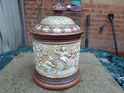 Antique Frederick & Alexander Gerburg Tobacco Jar with Grape/Hops Picking Relief