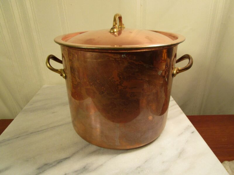 COPRAL Copper Stock Pot with Lid Brass Handles - Portugal - 4 Quarts