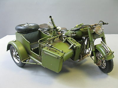 Blechmodell  Militär Motorrad  Blech Spielzeug 35cm Seitenwagenmaschine Gespann