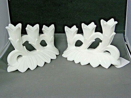 Pair of Triple Candleholders-Lotus Pattern-Westmoreland Milk Glass-Vtg-Signed