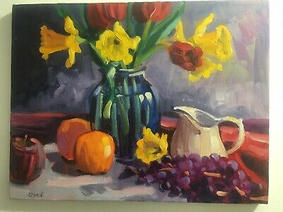 """Still Life  original oil painting 11 X 14"""" on Canvas  """"Spring Bulb""""  By C Smith Spring Oil Painting"""