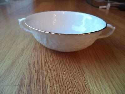 Spode 2 Handled Cream Soup Bouillon Bowl - white with Gold Rim Rim Bouillon