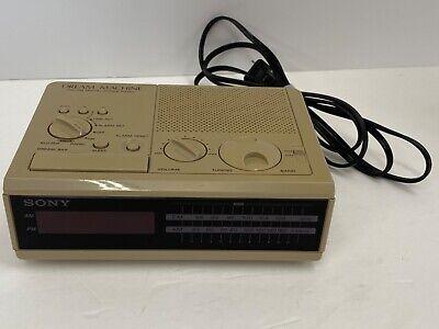 Vintage 1980s Sony Dream Machine FM/AM Digital Alarm Clock Radio ICF-C3W Beige