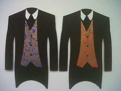 5 GORGEOUS TUXEDOS WITH PATTERNED WAISTCOATS FOR WEDDING CARDS AND TOPPERS