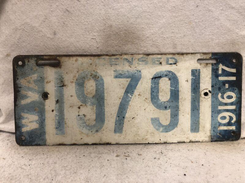 Vintage 1916-1917 West Virginia License Plate