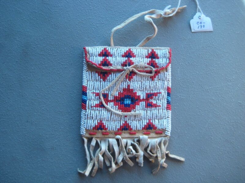 NATIVE AMERICAN BEADED  MEDICINE POUCH, NORTH AMERICAN BEADED BAG, #CO-190