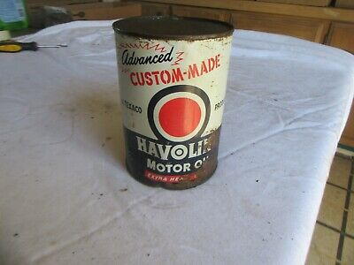 Vintage Full Quart Custom Made Havoline Oil Can Lot 20-24