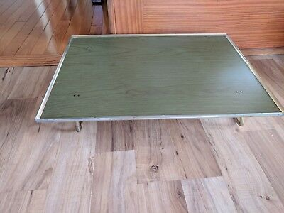 Vintage Green Wood Grain TV Tray With Folding Legs