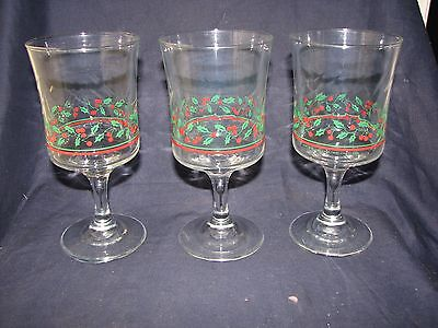3 Arby's 1986 Christmas Holly Berry Stemmed Water/Wine Glasses