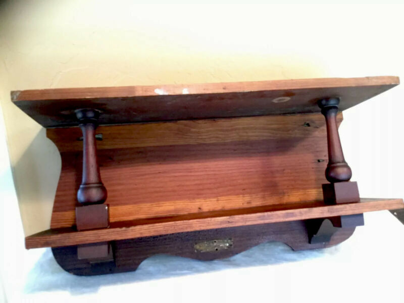 Antique Vintage Vetten Mfg. Co. Double Shelf Wooden Clock Mantle/Shelf