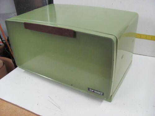 Vintage Large Green Metal Bread Box with Shelf & Cutting Board Door
