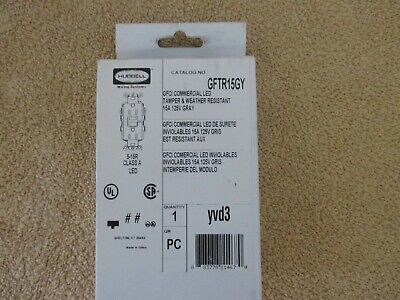 Hubbell Gftr15gy Gftr15 Gray Gfci Commercial Led Receptacleoutlet - Gray