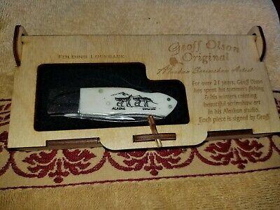 SCRIMSHAW KNIFE GEOFF OLSEN ORIGINAL