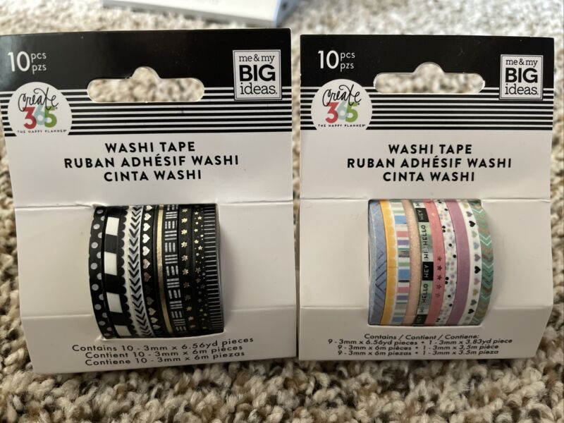 NEW Happy Planner Washi Tape Pastel 10pc And B&W 10pc