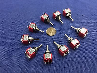 10 Pieces Momentary Mini Toggle Switch (ON)-OFF-(ON) 6 pin 12vdc dpdt 1/4 A5