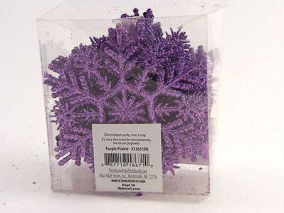 20 Purple Lilac Glitter Snowflake Ornaments Christmas Tree Holiday Decoration