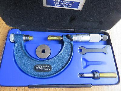 """Moore & Wright Vintage External Adjustable Micrometer 940X.  Range 0-2"""". Unused"""