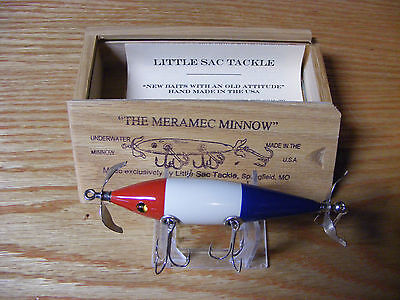 Little Sac Bait Co Meramec Minnow Glasseye Lure in Red White and Blue Color 4