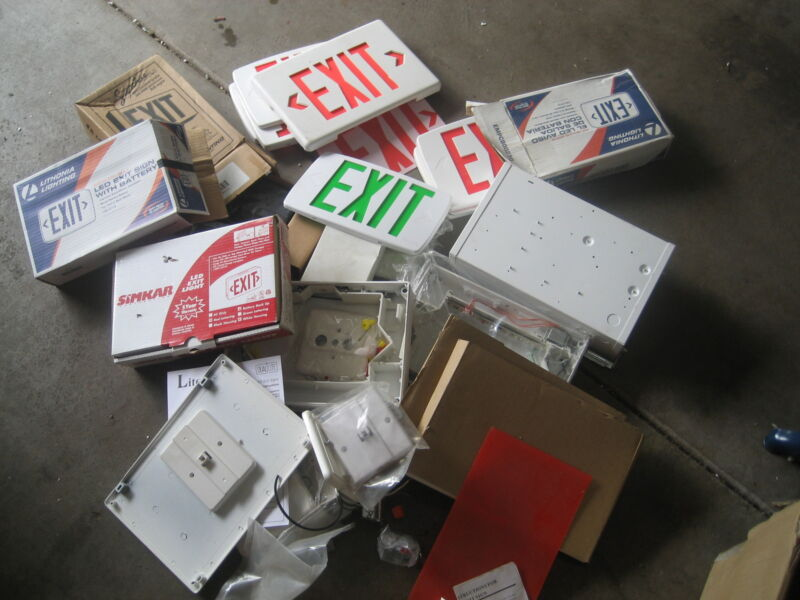 HUGE Exit Sign LOT  Face Plates, Housings, Mounting Kits, Lithonia Quantum LED