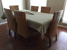 6 Seater Dining Table with Wicker Chairs Harrington Park Camden Area Preview