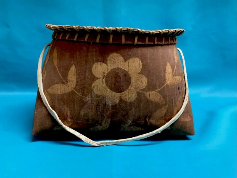 Antique Native American Algonkin Birch Bark Container Basket MUSEUM QUALITY